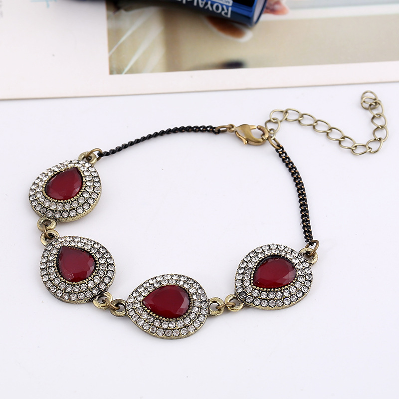 Women Popular Bracelets Vintage Ethnic Style Bracelets Classic Red Natural Stone Jewelry Water-drop Resin Cuff Bangles