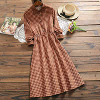 Mori fille mode robe à carreaux 2019 printemps nouveauté velours côtelé à manches longues robe vintage pour les femmes