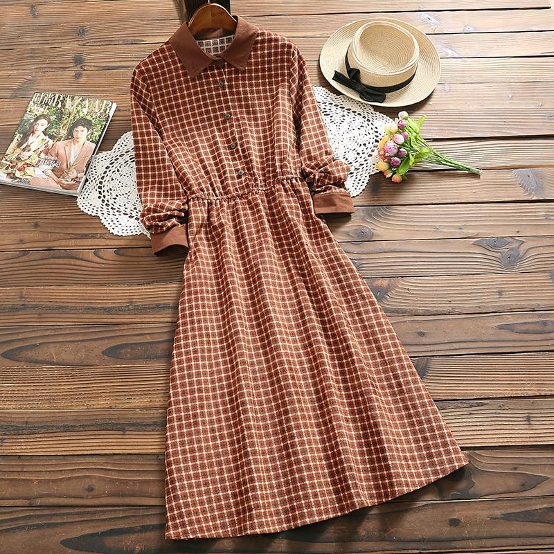 Mori Girl Fashion Plaid Dress 2019 Spring New Arrival Corduroy Long Sleeve Vintage Dress For Women