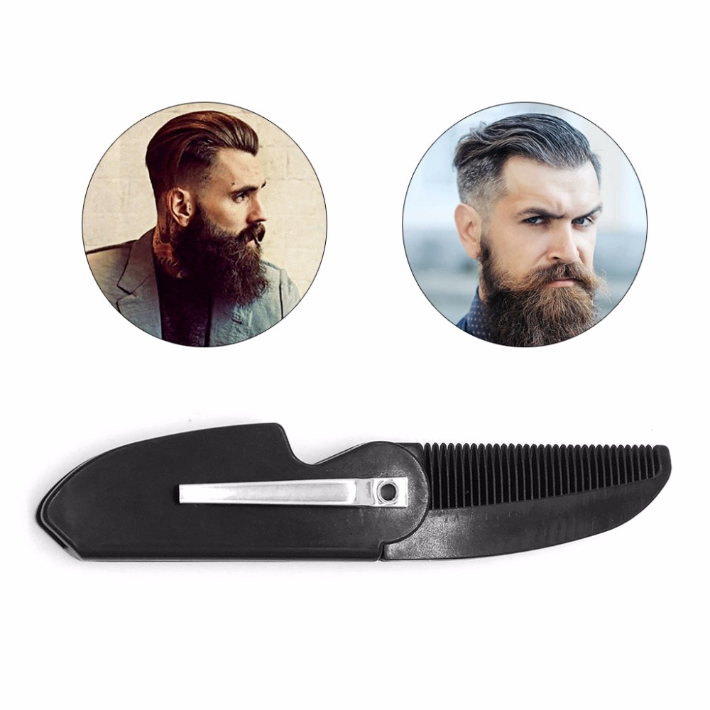Portable Folding Pocket Clip Hair Mustache Beard Comb For Men Black Hair Styling Tools Combs 1 Pc