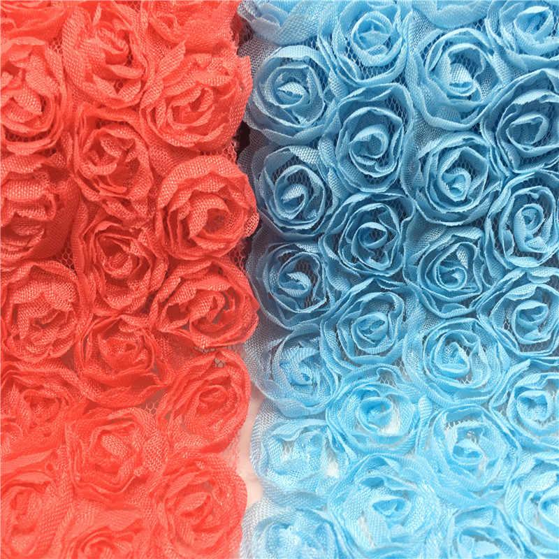 1 100yard/Lot Nova MultiColorful 6 Linha Lace Flor Rosa Falso Largura 3D Chiffon Bordado Guarnição do Laço de Fita de Tecido DIY Acessórios