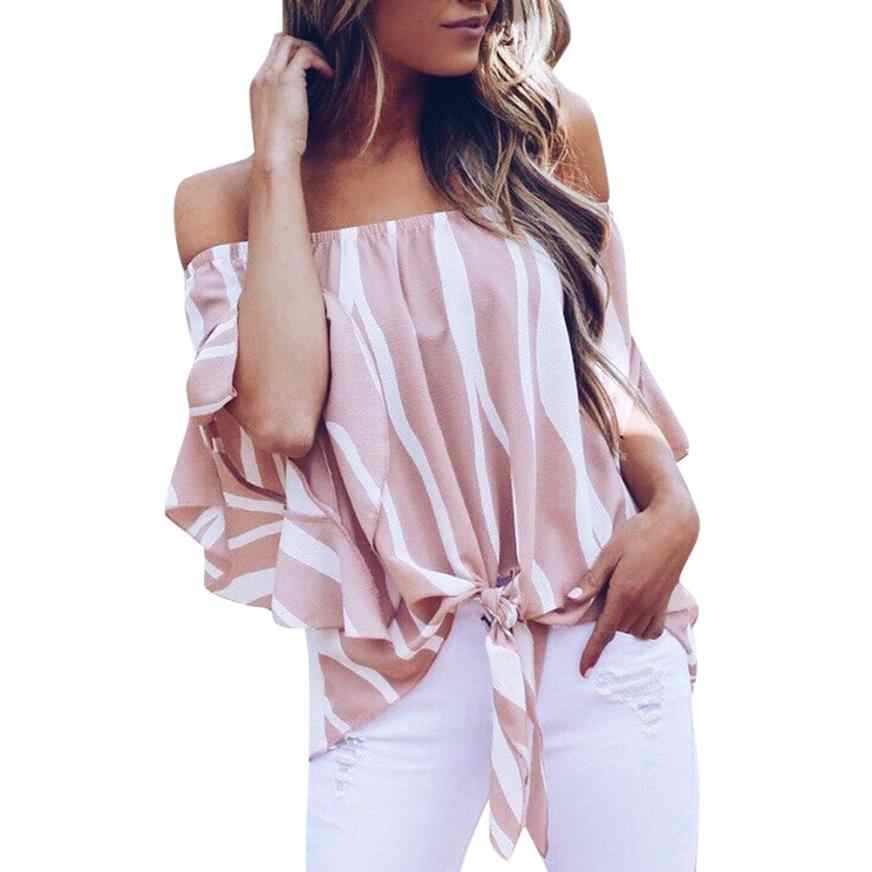 548c0aeaf3491a ... womens tops and blouses Striped Off Shoulder Waist Tie Blouse Short  Sleeve Casual Slash neck newest ...