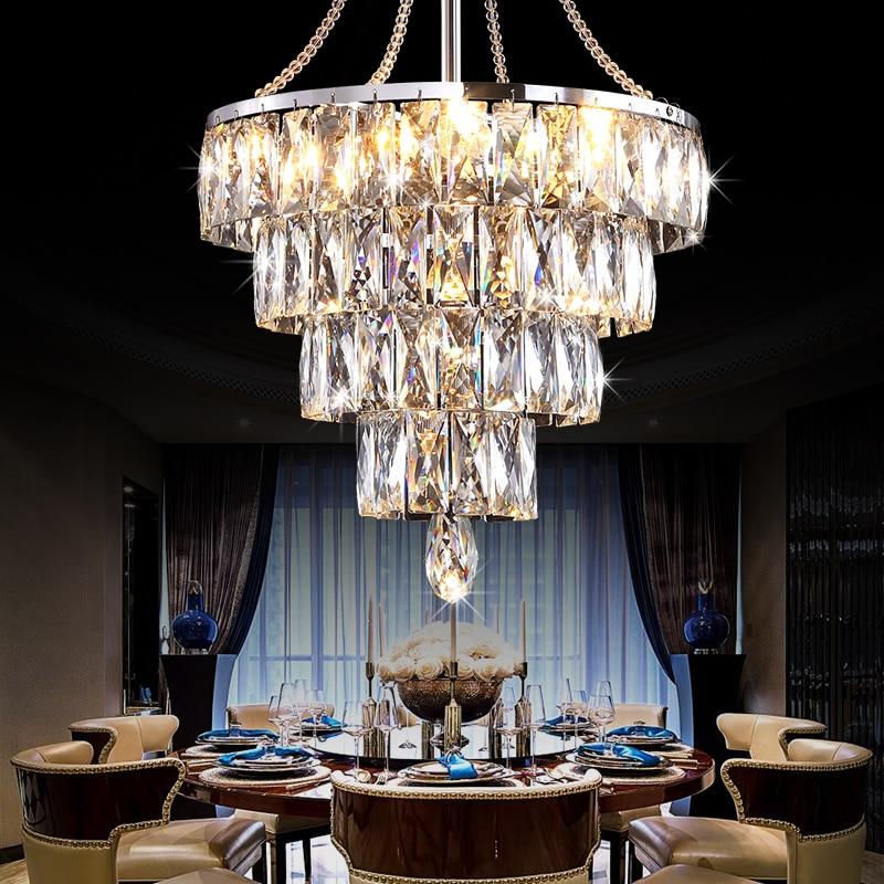 modern led crystal Pendant Lamp Lustre Suspension Kitchen Light Fixture E27 Home Lighting