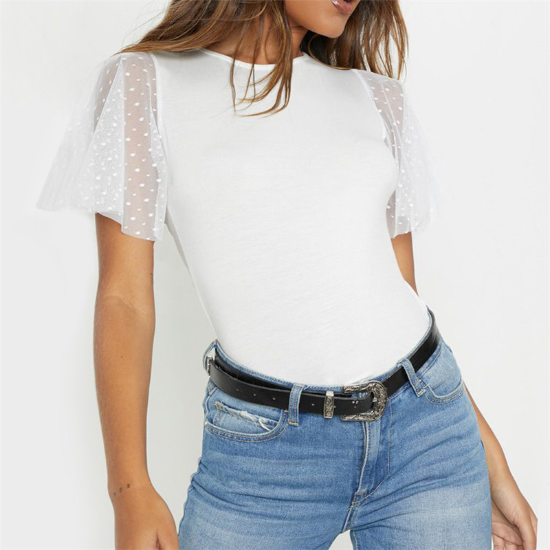 Rogi Womens Blouses and Tops Casual Short Sleeve Summer Shirt Women Sexy Lace Ruffle Sleeve Tops Tee Loose Blouse Blusa Mujer womens blouses
