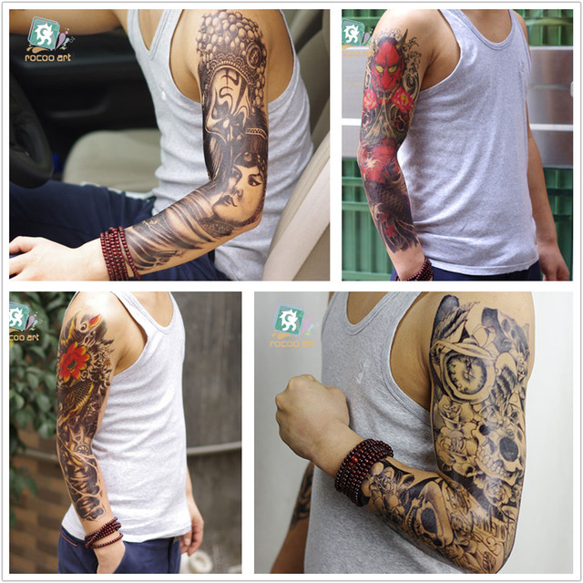2016 new extra large tattoo waterproof full arm shoulder temporary tattoo skull super big sleeve tattoo stickers for men