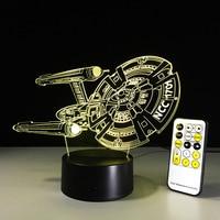 Twórczy Star Trek Illusion Night Light NCC-1701 3D LED Lampa Stołowa Dotykowy/Remote Bed Room Oświetlenie Dekoracyjne