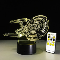 Creative Star Trek Illusion Night Light NCC 1701 3D LED Table Lamp Touch Remote Bed Room