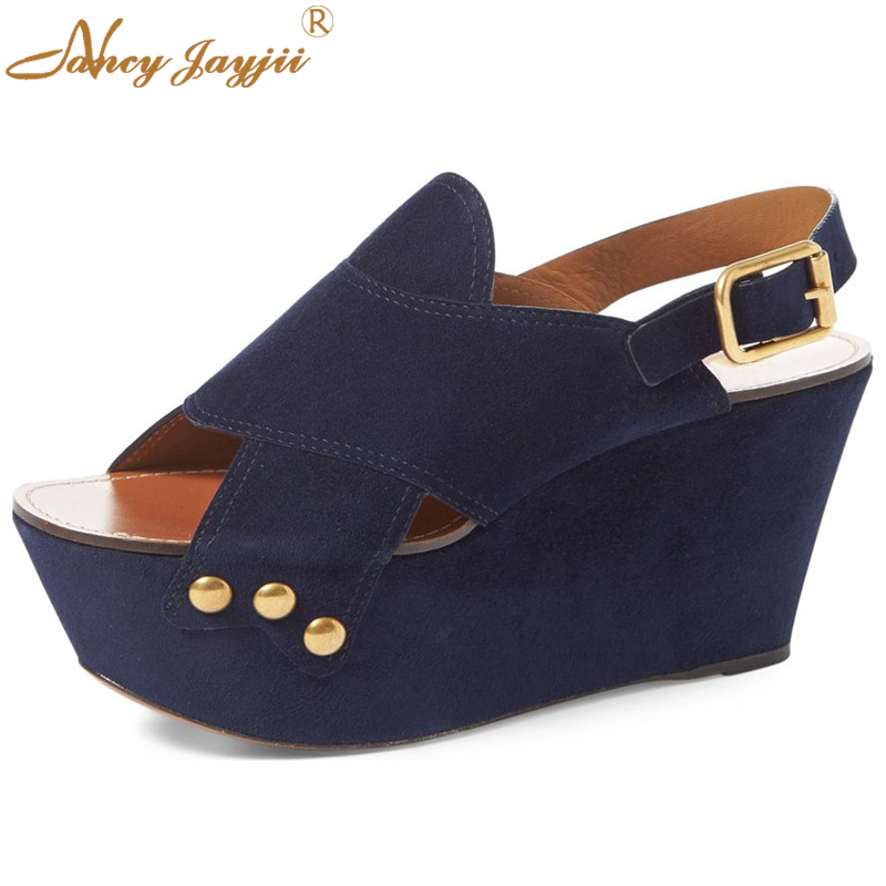 ФОТО Shoes Luxury Blue Short Flock Upper Ankle Buckle Strap Wedges 8cm Casual Sandals Femme Shoes Woman Street&Party Large Size 4-16.