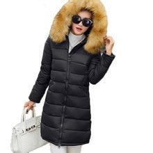 Ватные куртки женщины вниз хлопка-ватник утолщение тонкий большой меховой воротник зимняя куртка женщины С Капюшоном верхняя одежда AE2012