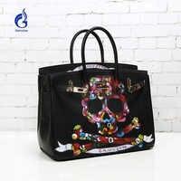 2018 Art Hand Drawing Graffiti women handbags Graffiti Black rock skull luxury handbags women bags designer Business Party Bags