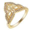 2017 Moda Banhado A Ouro Jóias zircão CZ Senhora Anéis de Casamento Jóias Da Coroa Da Princesa Mulheres Bijoux Drop Shipping