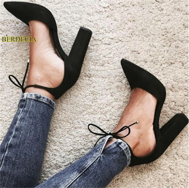 e6f3103078e Cozy black  beige two part chunky heel pointed toe shoes fashion suede  dressed lace up comfortable concise style pumps