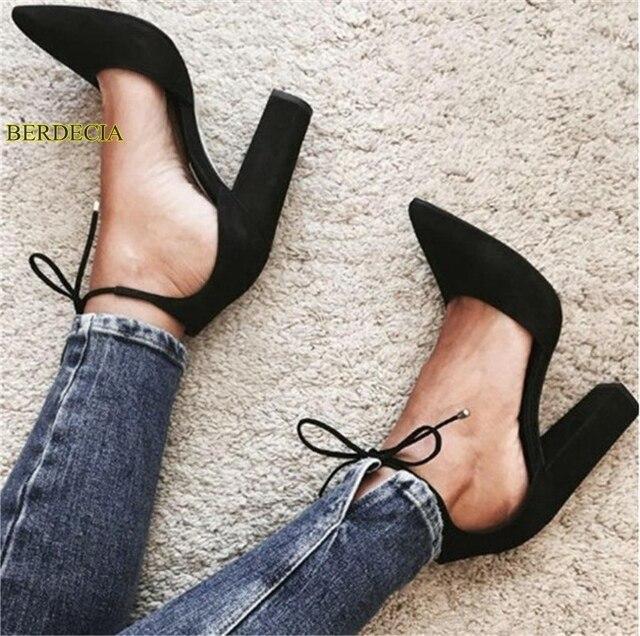 8053551504 Cozy preto bege duas partes robusto calcanhar apontou toe sapatos da moda  de camurça vestido