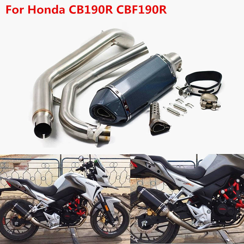 For Honda CB190R CBF190R Motorcycle Full Slip On Exhaust Muffler With Akrapovic Middle Link Pipe With