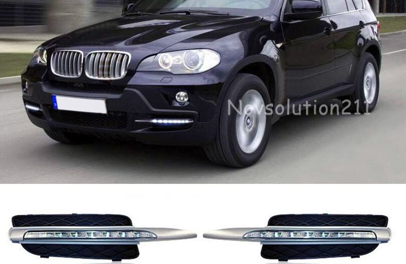 2 pieces / set Exterior Car LED DRL Daytime Running Light For BMW X5 E70 2008 2009 2010 car flashing 2pcs drl for bmw x5 e70 2007 2008 2009 2010 daytime running lights daylight car led fog head lamp light cover