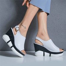 2019 Creepers Women Back Strap Genuine Leather High Heel Roman Gladiator Sandals Summer Wedges Platform Party Pumps Casual Shoes aiykazysdl gladiator roman sandals metallic faux leather strappy creepers ultra very high heel platform shoes square thick heels