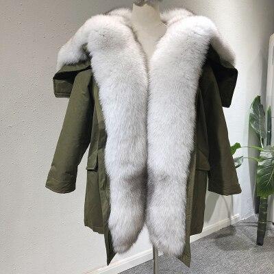OFTBUY 2019 Jaqueta de Inverno Mulheres Parka Casaco De Pele Real Natural big Fox Gola De Pele Com Capuz pato branco para baixo casaco quente exército verde NOVO