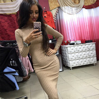 Fall 2017 Fashion Long Sleeve Knitted Casual Christmas Women Dress Autumn Winter Red Black Sexy Bodycon