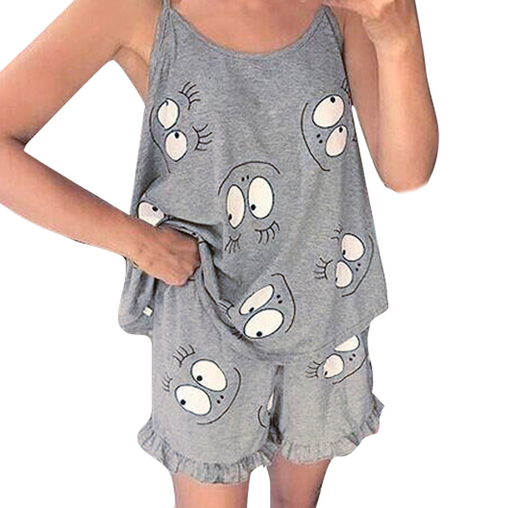 2019 Hot Homewear Halo Sweet Summer Cotton Sleepwear Women Pajamas Female Home Clothes For Women Shorts Suits Clothes Two Piece