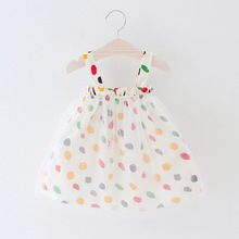 New 0-24M Summer Baby Girl Dress Cotton Print Dot Princess Sleeveless Cute Infant Bebe Dresses Toddler baby Girls Mesh Clothes все цены