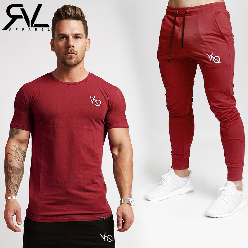 VQ Shirt+Joggers Sets Men Short Sleeve T Shirt Gyms Top+Pants Mens Sets 2018 New Causal Sportswear Tops Gyms Set Clothing ...