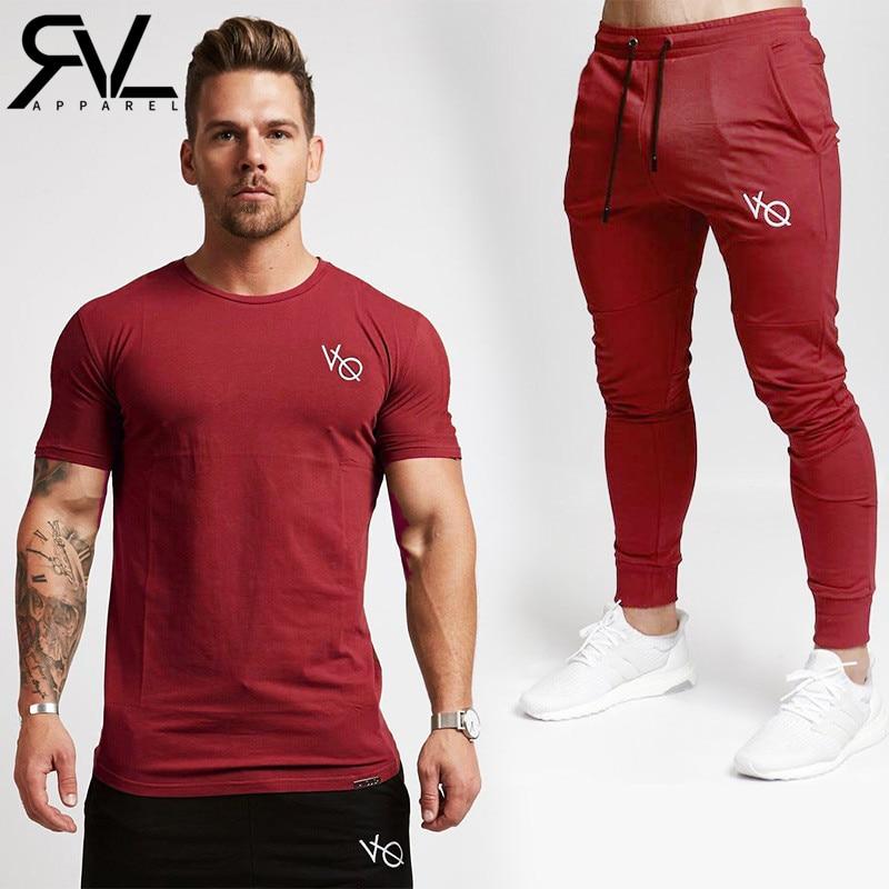 VQ Shirt+Joggers Sets Men Short Sleeve T Shirt Gyms Top+Pants Mens Sets 2018 New Causal  ...