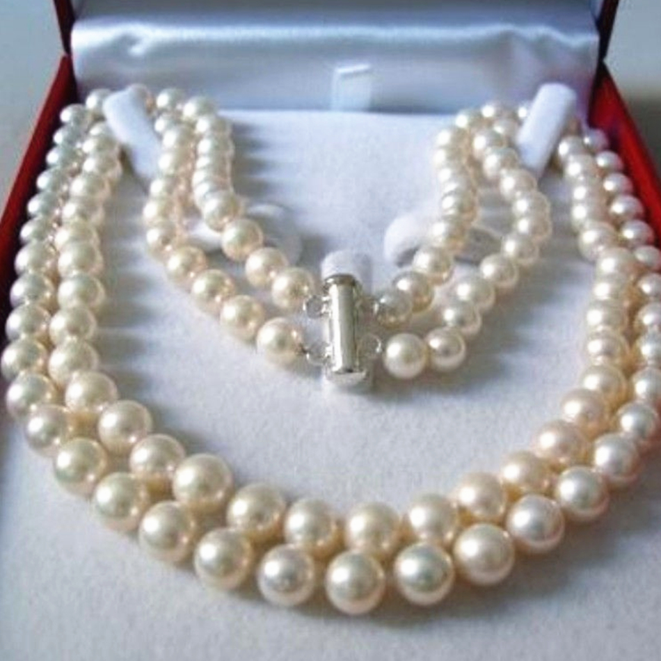 Wholesale Price 2 Rows 89mm Natural White Freshwater Cultured Pearl  Necklace Round Beads Women