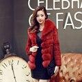 Реальные фотографии Теплый Корейский стиль Зима натуральный мех куртка Осень и зима пальто из меха кролика пальто с лисой меховой воротник