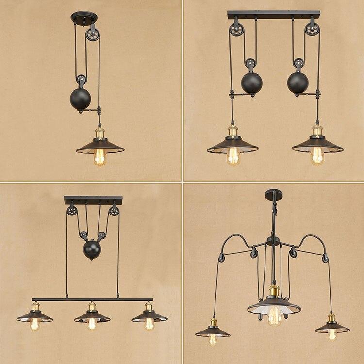 Vintage fer Loft industriel Style américain poulie suspension lumière réglable fil lampe rétractable barre lumière Edison ampoule