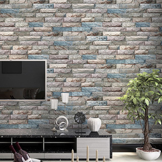 3D Stereo Embossed Brick Wallpaper Modern Simple Marble Stone Texture Living Room TV Backdrop Wall Restaurant Decor