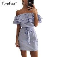 New Trendy Ruffles Striped Dress For Women 2017 Summer Slash Neck Off Shoulder Lace Up Waist