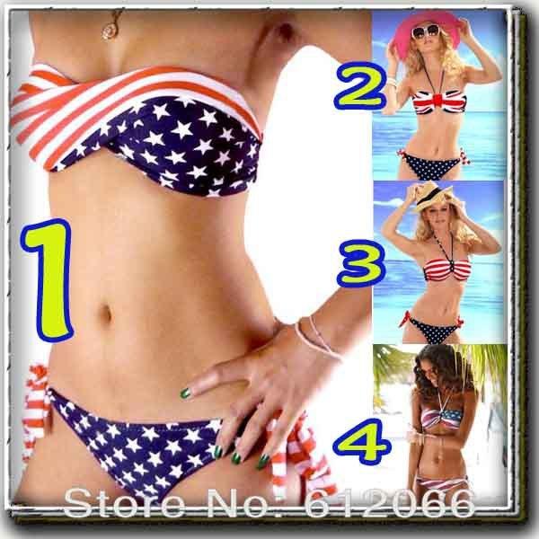 2014 new swimsuit swimwear Women Sexy bikini STARS STRIPES USA Flag PADDED TWISTED BANDEAU bikini set  plus s m l A01201