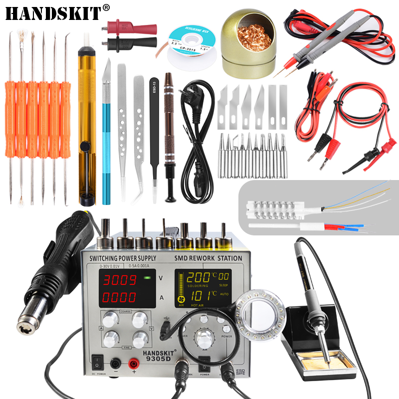 Frugal 4 In 1 Rework Station & Swiching Dc Power Supply Hot Air Reworks Soldering Iron High Precision Lcd Show 9305d Soldering Station Fine Craftsmanship