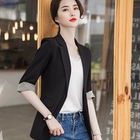 Women's suit jacket 2019 summer new sleeves small suit jacket women's solid color slim slimming small suit ladies shirt