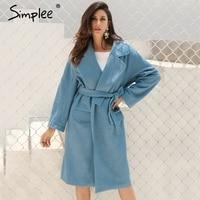 Simplee Elegant Turndown Warm Winter Wool Blend Female Black Belt Pockets Long Coat Women Casual Autumn