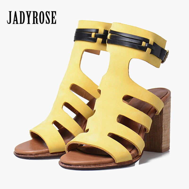 Jady Rose Yellow Hollow Out Female Gladiator Sandals Women Ankle Strap Ethnic Summer Sandal Chunky High Heel Shoes Woman цена