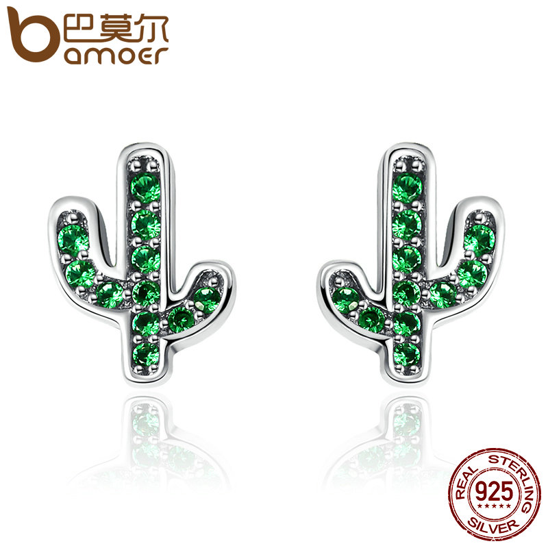 BAMOER Hot Sale 925 Sterling Silver Dazzling Green Cactus Crystal Stud Earrings for Women Authentic Silver Jewelry Bijoux SCE097 pair of dazzling crystal pendant alloy earrings for women