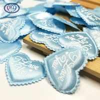 HL 35mm 100 stücke Blau Farbe Gepolsterte Liebe Herz Appliques Hochzeit Dekoration DIY Nähen Handwerk A597