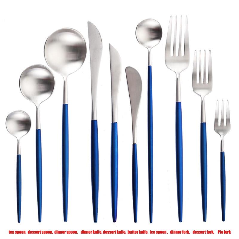 Spklifey 304 Stainless Steel Gold Dinnerware Set Western Cutlery Set Kitchen Food Tableware Fork Knife Scoop Silverware Set