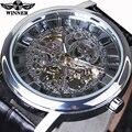 2016 Men's Skeleton Mechanical Hand Wind Watch Winner Watches Man watches Leather Relogio Masculino Transparent Wristwatch
