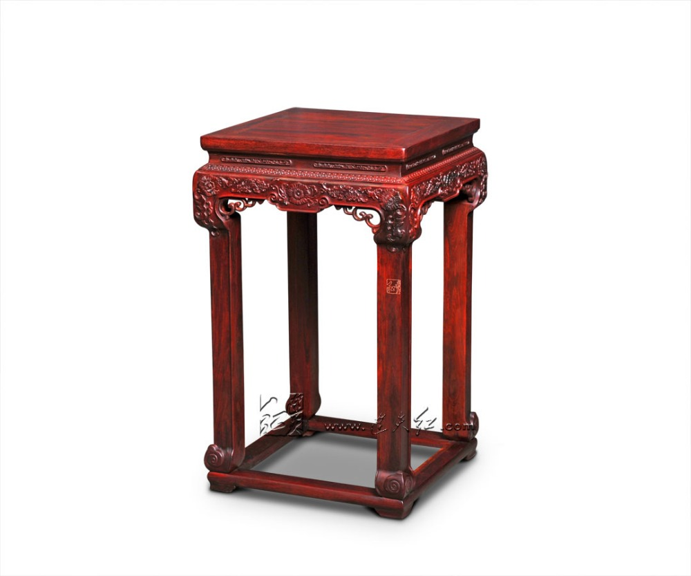 Burma Rosewood Flower Stand Living Room Decor Console Table Incense Burner High Desk Red Sandalwood Solid Wood Furniture Carving