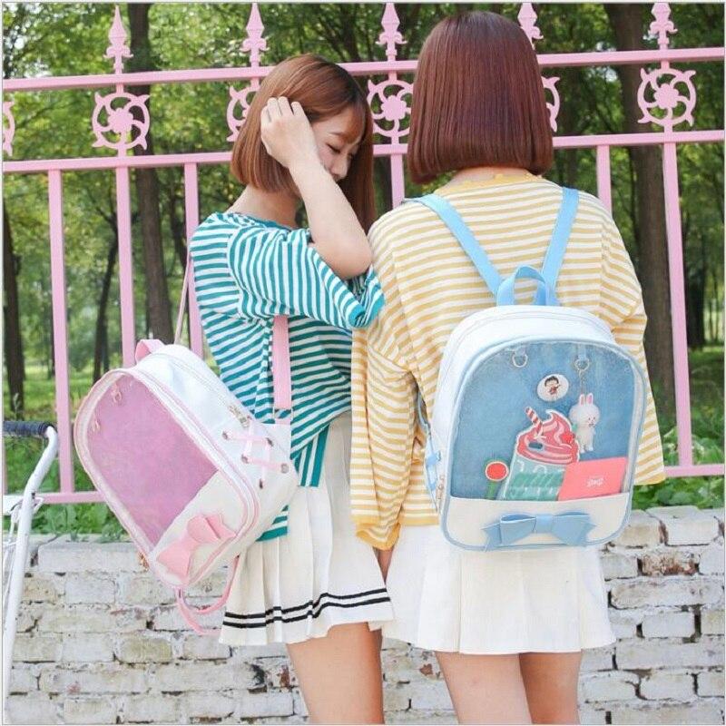 Cute Clear Transparent Bow Backpack Ita Harajuku School Bags For Teenage Girls Rucksack Kids Kawaii capacity double shoulder bag