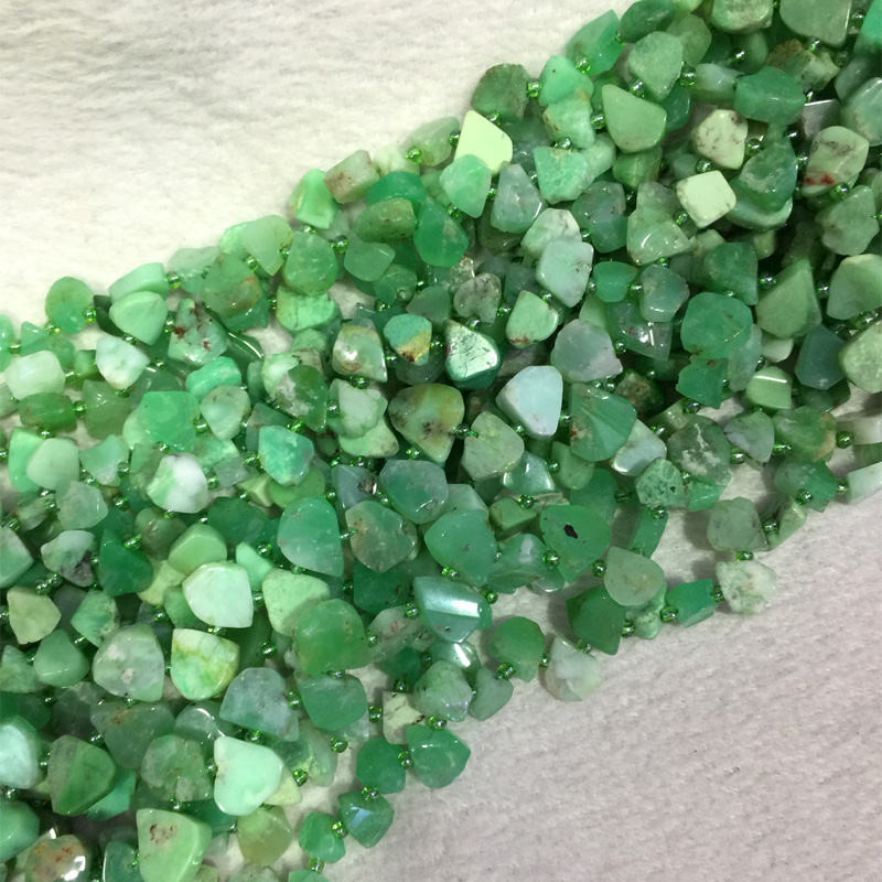 Natural Genuine Raw Mineral Grass Green Australia Jade Chrysoprase Flat Teardrop Nugget Smooth Side Drilled Loose Beads15 05538