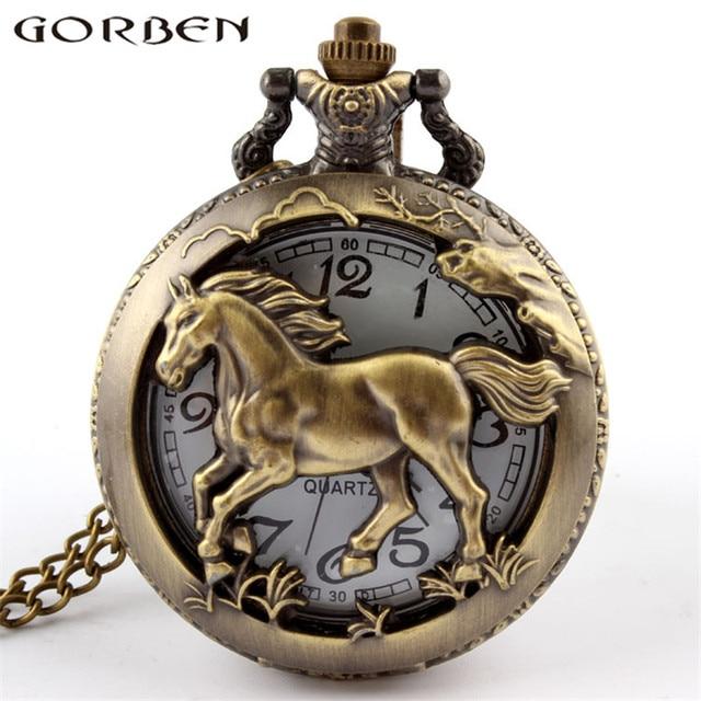 Vintage Bronze Charming Hollow Horses Quartz Pocket Watches With Chain Clock Pen