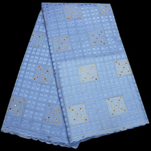 Free shipping (5yards/pc) high quality skyblue African voile lace Swiss lace fabric with stones for party dress CLP108