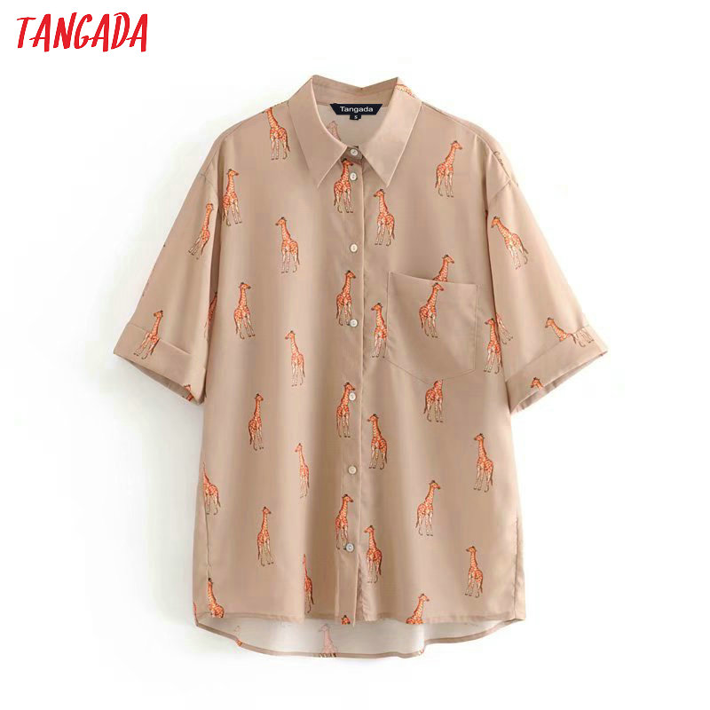 Tangada Women Animal Pattern Blouse Fashion 2019 Turn Down Collar Vintage Three-quarter Sleeve Shirts Female Chic Tops 3A21