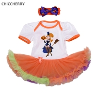 The Little Witches Baby Halloween Costumes Lace Petti Rompers Tutu Dress Headband Girls Clothing Sets Conjunto