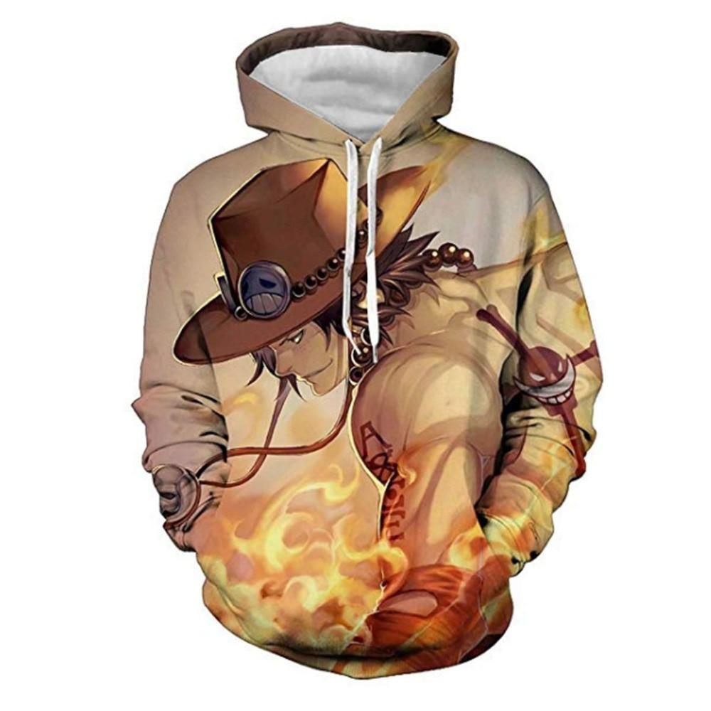Anime 3D Hoodies Men Clothes 2019 Sweatshirts One Piece Luffy Print Pullovers Harajuku Tops Streetwear