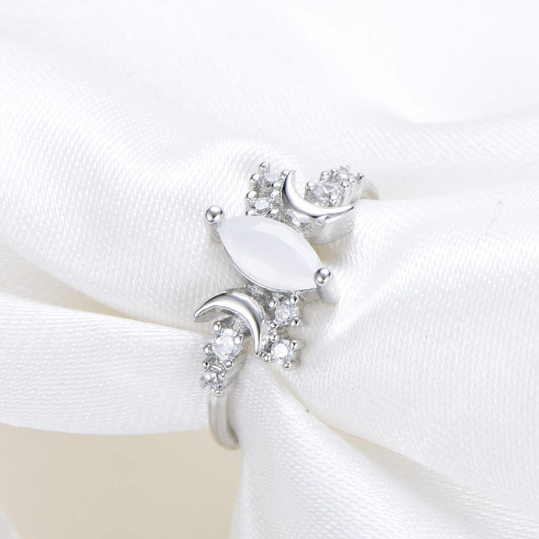 หญิงสีขาวโอปอลดวงจันทร์หินแหวนแฟชั่น 925 เงินเครื่องประดับสัญญารักหมั้นแหวน