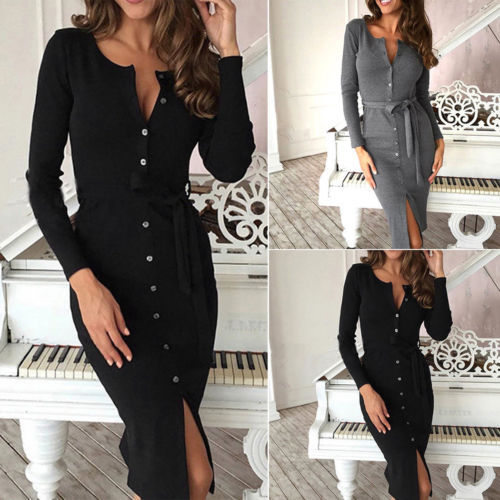 2018 New Autumn Winter Warm Dress Women Sexy Slim Bodycon Dress Female O neck Long Sleeve Knitted Dress Vestidos